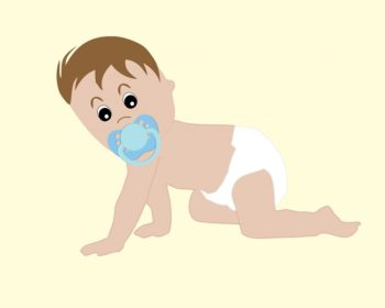Crawling Baby with Pacifier