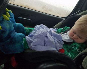 Baby Oakley sleeping in car seat