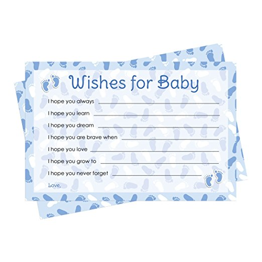 Wishes For Baby Cards - Blue Boy Baby Shower Theme (20 Cards) by DISTINCTIVS