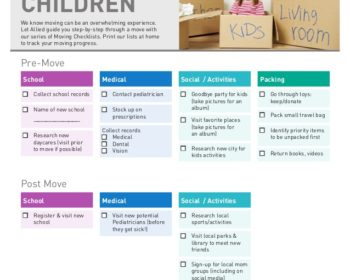 CHECKLIST FOR MOVING WITH CHILDREN