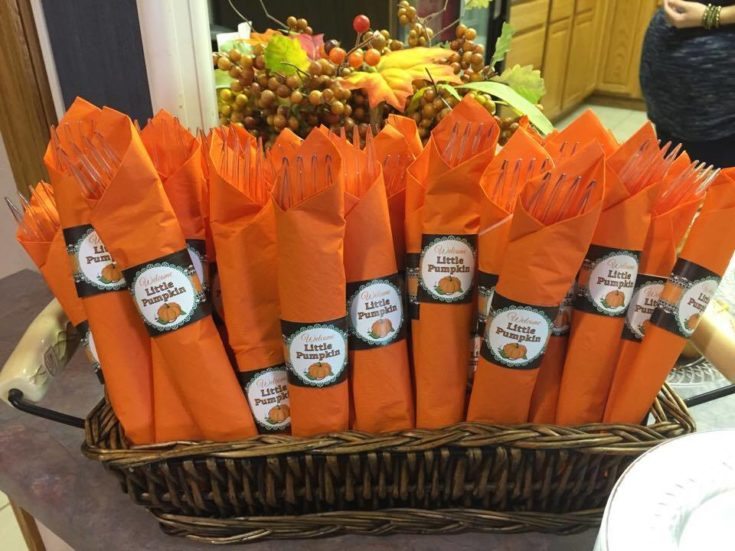 Welcome Little Pumpkin Silverware Napkins