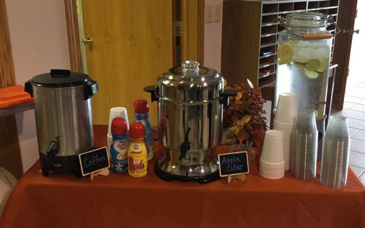 Coffee, Apple Cider and Water
