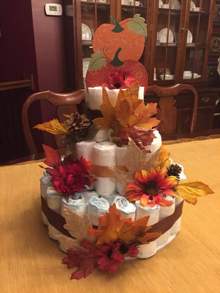 Autumn Leaf Diaper Cake