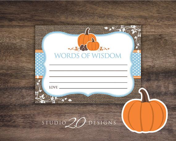 Instant Download Orange Blue Pumpkin Advice Cards, Rustic Burlap Words of Wisdom, Baby Boy Pumpkin Baby Shower Games, Autumn Wisdom #83B