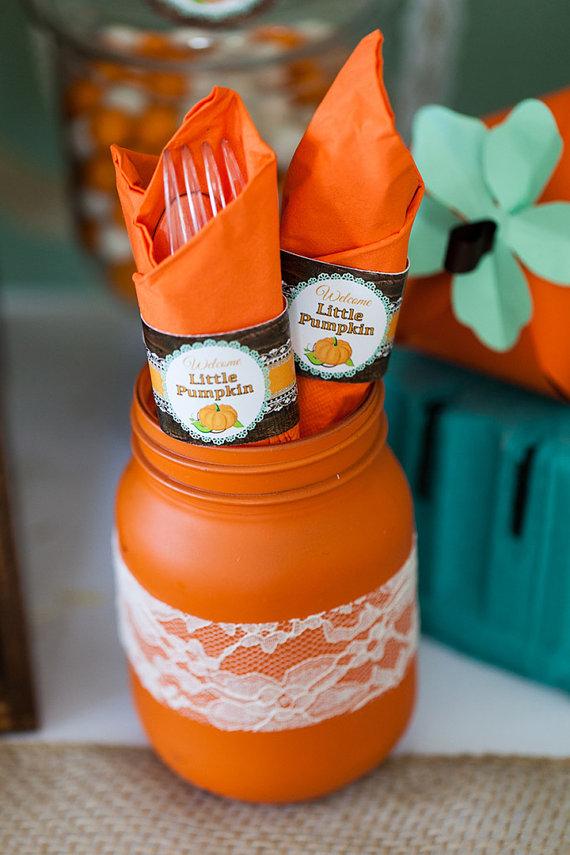 Rustic Fall Little Pumpkin Baby Shower Napkin Rings - Digital Printable Utensil Wrapper Labels - INSTANT DOWNLOAD